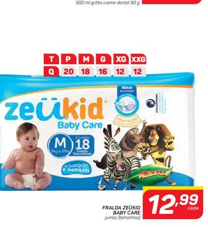 Oferta de FRALDA ZEÜKID BABY CARE por R$12,99