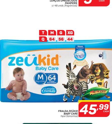Oferta de FRALDA ZEÜKID BABY CARE por R$45,99