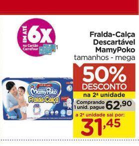 Oferta de Fralda-Calça Descartável MamyPoko por R$62,9