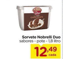 Oferta de Sorvete Nobrelli Duo sabores - pote - 1,8 litro por R$12,49