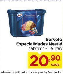 Oferta de Sorvete  Especialidades Nestlé sabores - 1,5 litro por R$20,9