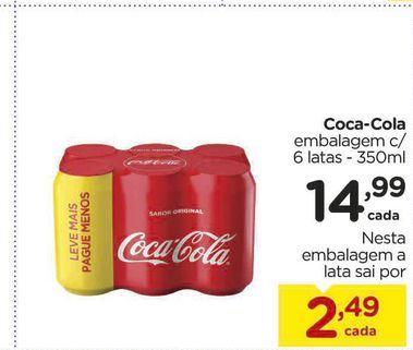 Oferta de Coca-Cola embalagem c/ 6 latas - 350ml por R$14,99