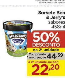 Oferta de Sorvete Ben & Jerry's sabores 458ml por R$44,39