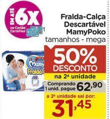 Oferta de Fralda-Calça Descartável MamyPoko tamanhos - mega por R$62,9