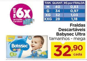 Oferta de Fraldas Descartáveis Babysec Ultra por R$32,9