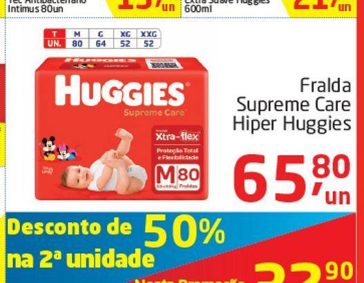 Oferta de Fraldas Supreme Care Hiper Huggies  por R$65,8