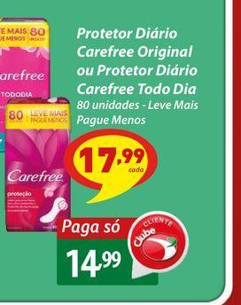 Oferta de Protetor Diário Carefree Original ou Protetor Diário Carefree Todo Dia por R$14,99