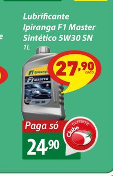 Oferta de Lubrificante Ipiranga F1 Master Sintético 5W30 SN 1L por R$24,9