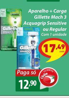 Oferta de Aparelho + Carga Gillette Mach 3 Acquagrip Sensitive ou Regular por R$12,9