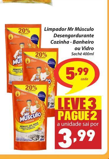 Oferta de Limpador Mr Músculo Desengordurante Cozinha - Banheiro ou Vidro Sachê 400ml por R$5,99