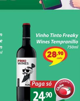 Oferta de Vinho Tinto Freaky Wines Tempranillo 750ml por R$24,9