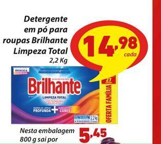 Oferta de Detergente em pó para roupas Brilhante Limpeza Total 2,2 Kg por R$14,98