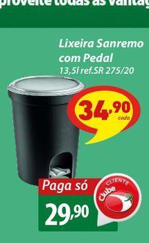Oferta de Lixeira Sanremo com Pedal por R$29,9