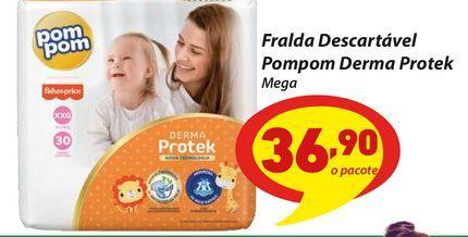 Oferta de Fralda Descartável Pompom Derma Protek por R$36,9