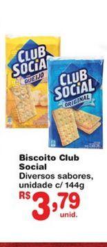 Oferta de Biscoitos Club Social por R$3,79