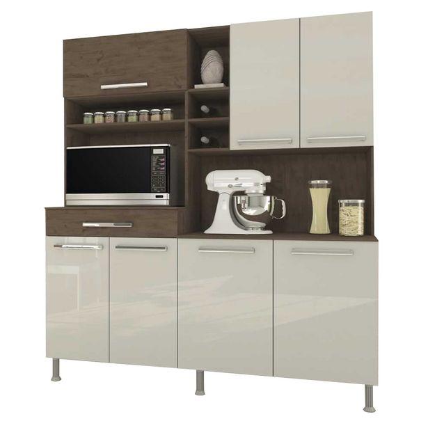 Oferta de Armário Kit Cozinha Bruna Indekes 7 Portas Noce / Offwhite por R$832