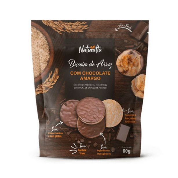 Oferta de Bisc.arroz Naturatta 60g Integral Chocolate Amargo por R$13,69