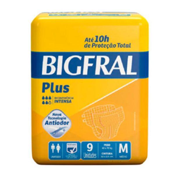 Oferta de Fralda Geriatrica Bigfral Plus Media Com 9 Unidades por R$27,35