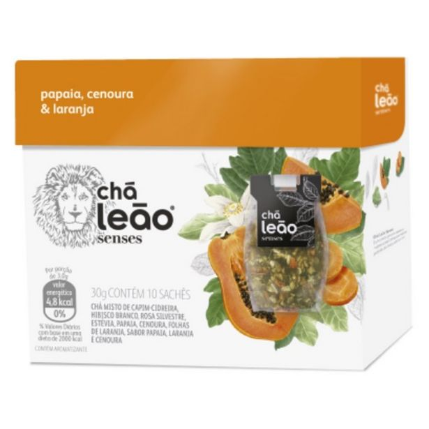 Oferta de Chá Leão Senses Papaia,cenoura E Laranja Com 10 Unidades por R$19,89