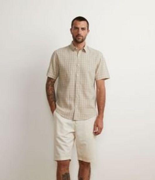 Oferta de Camisa Manga Curta em Linho com Estampa Xadrez Grid por R$139,9