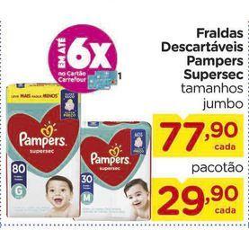 Oferta de Fraldas Descartáveis Pampers Supersec tamanhos jumbo por R$77,9