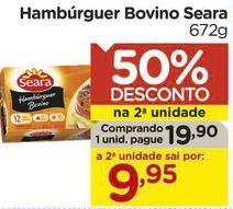 Oferta de Hambúrguer Bovino Seara 672g por R$19,9