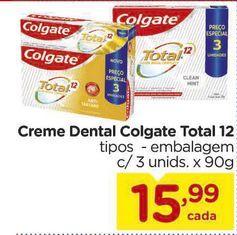 Oferta de Creme Dental Colgate Total 12 tipos -embalagem c/ 3 unids. x 90g por R$15,99