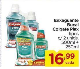 Oferta de Enxaguante Bucal Colgate Plax tipos c/ 2 unids. 500ml + 250ml por R$16,99