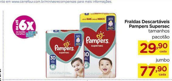 Oferta de Fraldas Descartáveis Pampers Supersec  por R$29,9